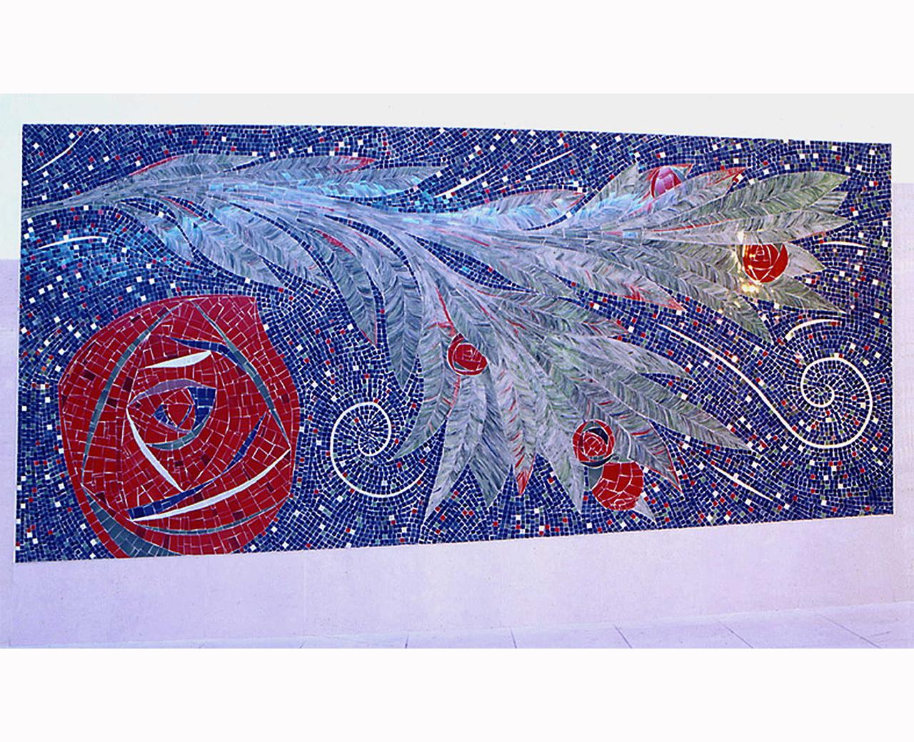Heraldic Roas Glass Mosaic Panel